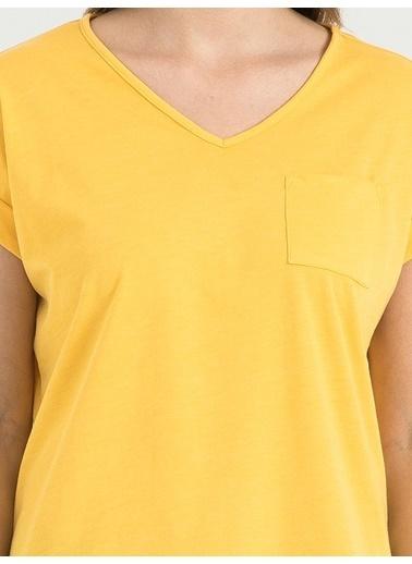 Loft V Yaka Tişört Sarı